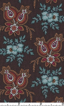1 1/2 yards brown and teal paisley floral print